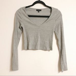 Topshop Long Sleeve Cropped Ribbed Tee